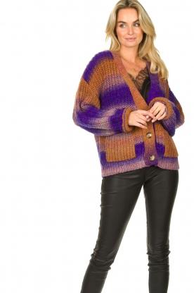 Set    Chunky knit cardigan Lucy   purple