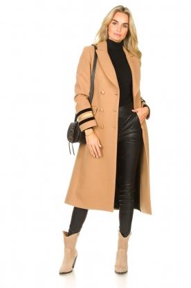 Kocca |  Cloak coat with striped details Obioma | camel