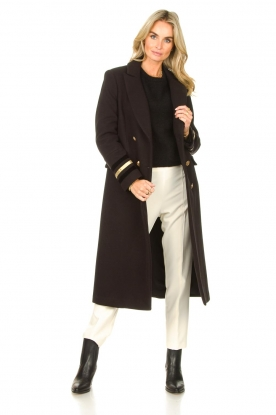 Kocca |  Cloak coat with striped details Obioma | black