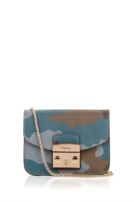 Furla |  Leather shoulder bag Metropolis Mini | army print blue