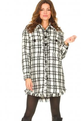 Kocca    Pied de poule coat with lurex Adofo   black