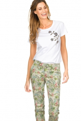 Silvian Heach |  T-shirt with floral application Marrakech | white
