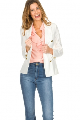 Silvian Heach |  Blazer with decorative buttons Windami | white