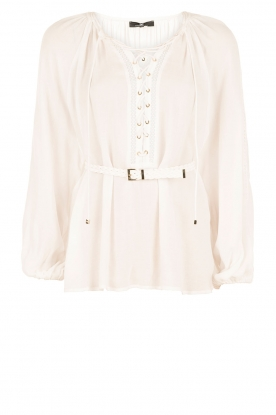 Lace-up blouse Florina | wit