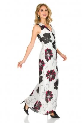 Atos Lombardini | Maxi-jurk met bloemenprint | wit