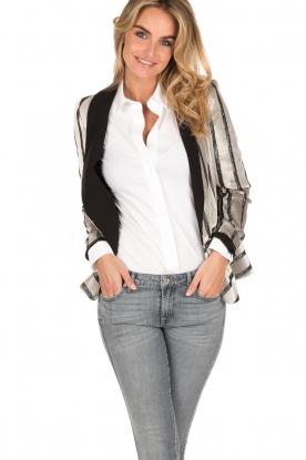 IKKS | Velvet blazer Charlene | zwartwit