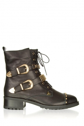 Sofie Schnoor | Leather boots with gold coloured buckles Kate | black