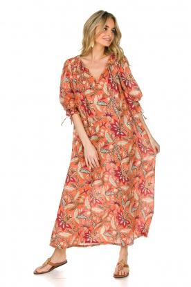 Antik Batik | Maxi-jurk Kalao | oranje/rood | Maxi-dress Kalao | orange/red