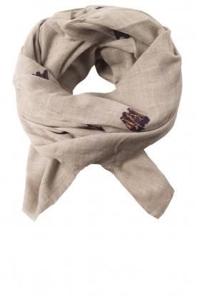 Sjaal met borduursels Dreamly Love  grijs