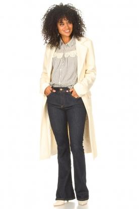 Look Gestreepte blouse met kant Anael