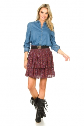 Look Denim blouse with ruffles Lilas