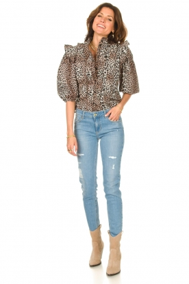 Look Ruffles blouse with leopard print Vicky