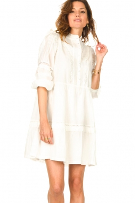 Notes Du Nord |  Broderie dress with ruffles Vivian | white