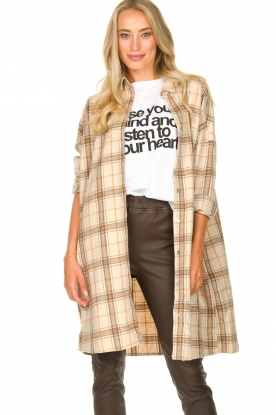 JC Sophie |  Checkered wool blouse Emmylou | beige