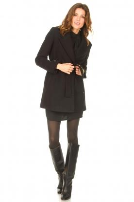 Look Crêpe dress with puff sleeves Venus: black