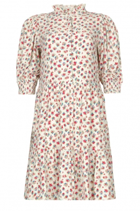 Notes Du Nord |  Ruffle dress with floral print Violet | white