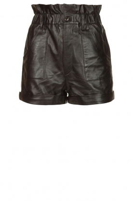 ba&sh |  Leather shorts Kate | black