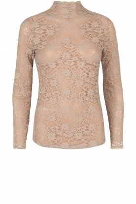 Lace turtleneck top Jaclyn | taupe