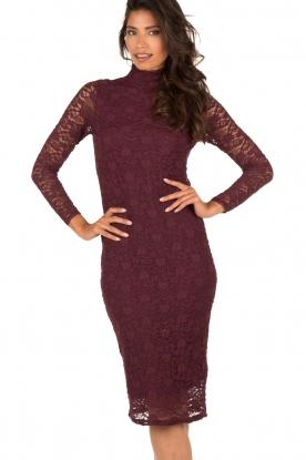 Style Butler | Kanten jurk Jaclyn | aubergine