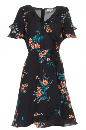 Kocca |  Wrap dress with florals Accro | black