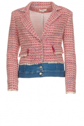 Kocca |  Boucle jacket with denim Lappon | red