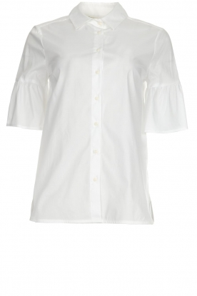 Kocca |  Blouse with trumpet sleeves Brody | white