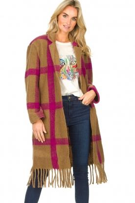 Les Favorites |  Checkered cardi-coat Aukje | camel