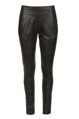 CC Heart    Leggings with lamb leather front Mila   black