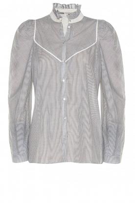 Les Favorites |  Striped cotton blouse Teddy | blue