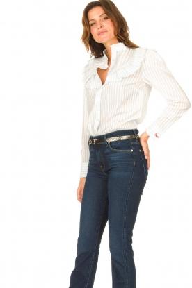 Les Favorites |  Striped cotton blouse Gerrie | white
