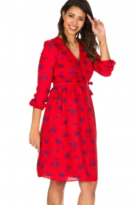 Set |  Dress Brigitta with flower print | Red