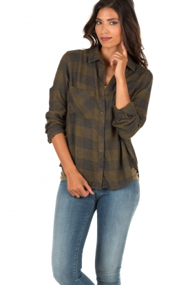 Flannel blouse Check | green