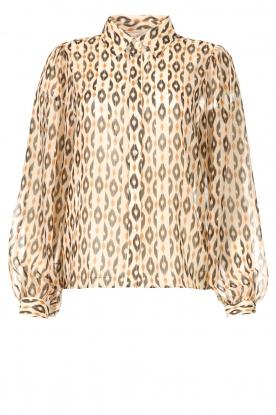 Aaiko |  Printed blouse Pillar | brown