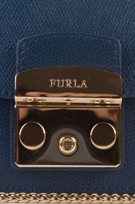 Furla | Leren schoudertas Metropolis Mini | donkerblauw