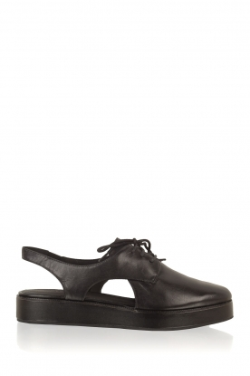 What For | Leren platform derby Gaspard | zwart