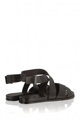 What For   Leren sandalen Aya   zwart