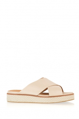 What For | Leren platform sandaal Emily | beige