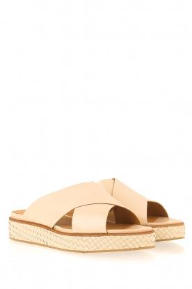 What For | Leren platform sandaal Emily | beige