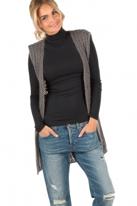 Ruby Tuesday | Wollen gilet Hasina | donkergrijs