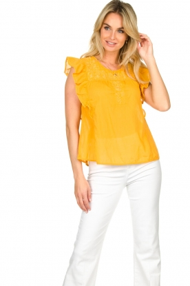 Louizon |  Top with embroidered details Joigne | yellow