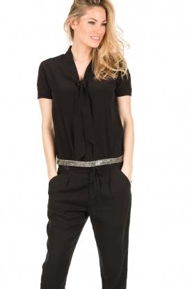 IKKS | Zijden pussybow blouse Lucille | zwart