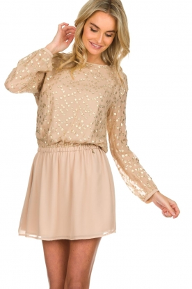 Patrizia Pepe |  Dress with gold dots Fenna | beige