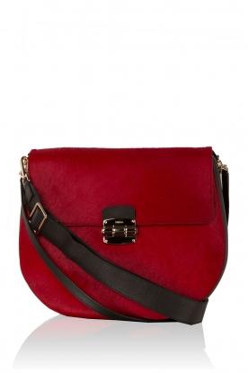 Leather shoulder bag Club M | red