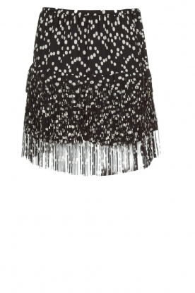 Patrizia Pepe |  Fringe skirt with dots print Pelazzi | black