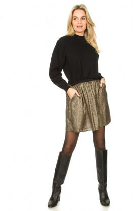 Look Skirt with golden fabric Castana