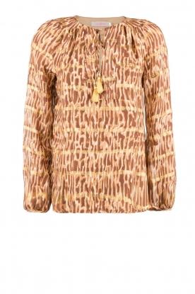 Zijden top Afra | bruin