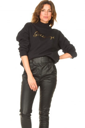 Goldbergh |  Cotton sweater Stone | black