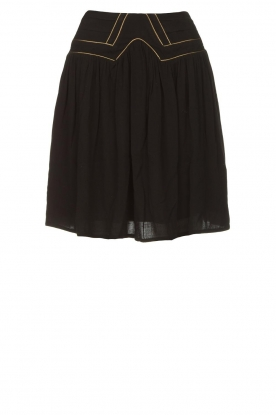 Louizon |  Skirt with gold seams Ella | black