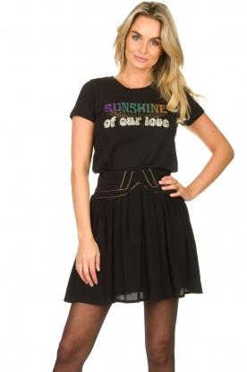 Louizon |  Skirt with gold seams Ella | black