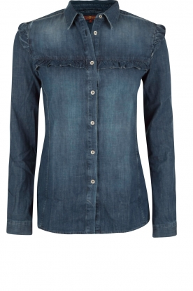 7 For All Mankind | Denim blouse Ruffle | blauw